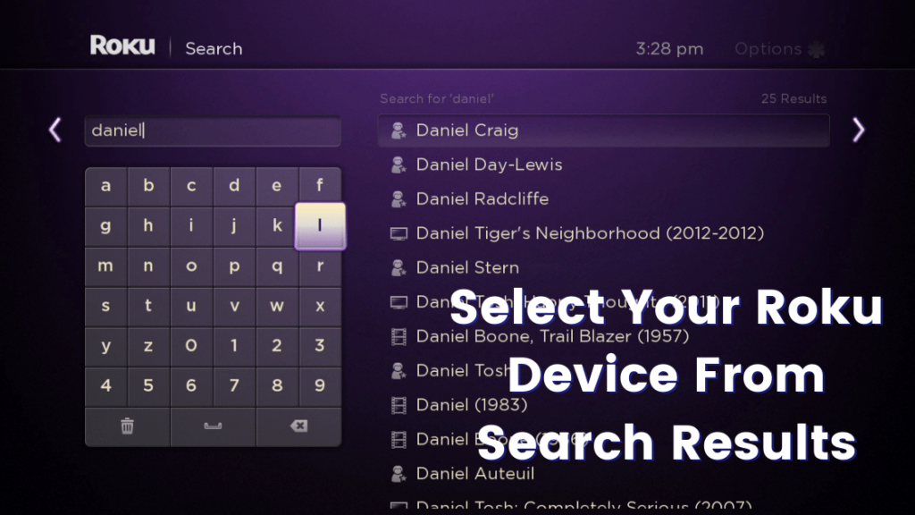 Select Your Roku Device From Search Results
