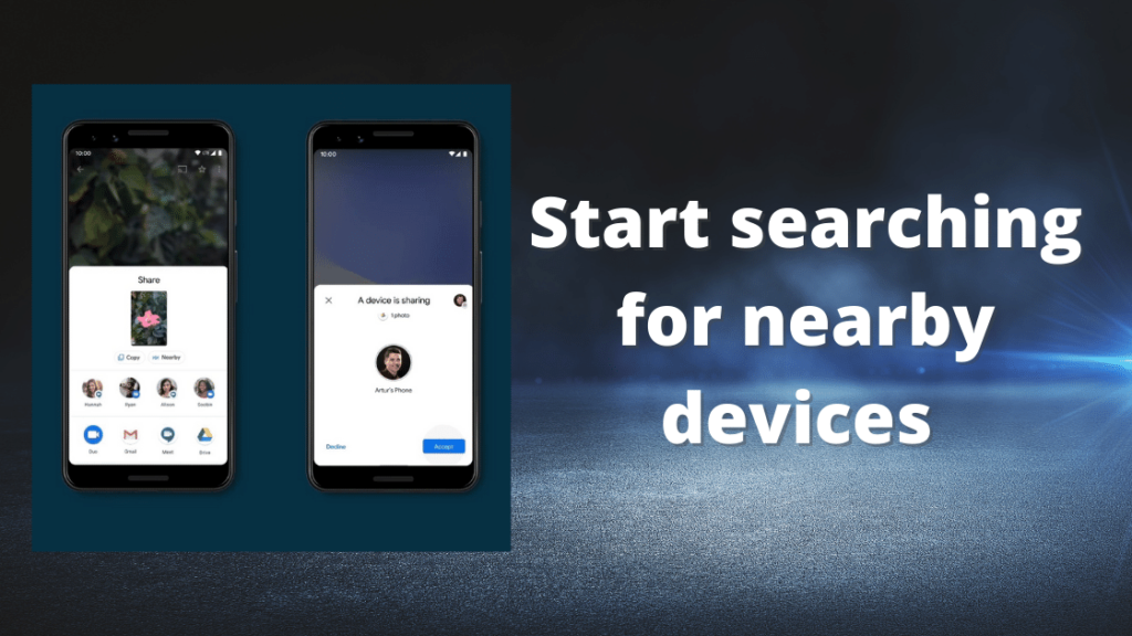 Start searching for nearby devices