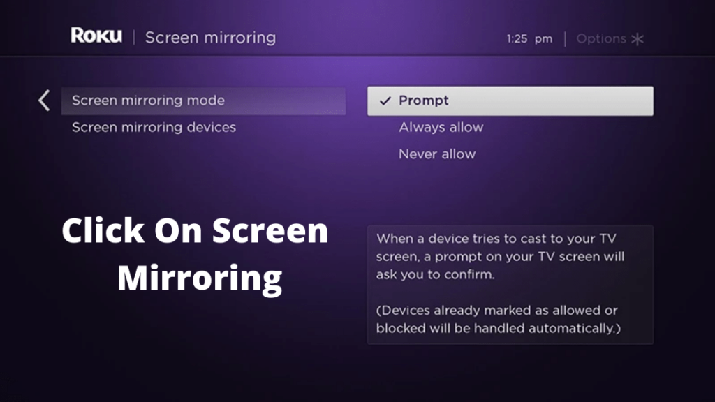 Click On Screen Mirroring