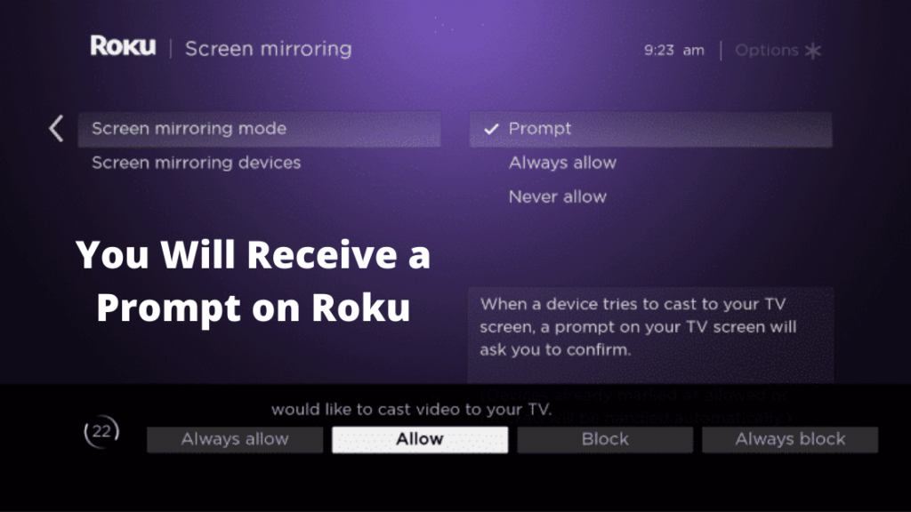 Receive a Prompt on Roku